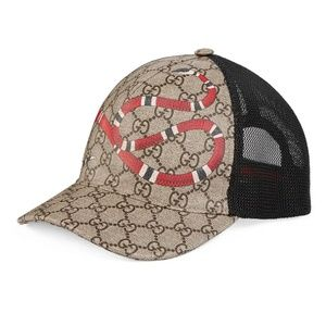 Authentic Gucci Snake-Print GG SupremeBaseballHat